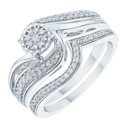 9ct White Gold 0.25ct Illusion Set Diamond Twist Bridal Set - Product number 6368719