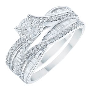 9ct White Gold 1/2ct Diamond Illusion Set Bridal Set - Product number 6368972