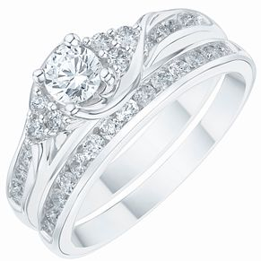 18ct White Gold 3/4ct Diamond Bridal Set - Product number 6369499