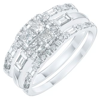 Platinum 1ct 4 Stone Princess Cut Diamond Bridal Set - Product number 6369634