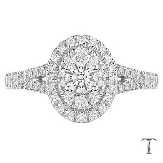Tolkowsky 18ct White Gold 0.75ct  Diamond Double Halo Ring - Product number 6373046