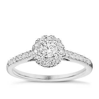 Tolkowsky 18ct White Gold 0.38ct Diamond Halo Ring - Product number 6373674