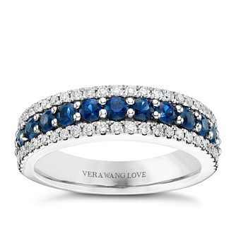 Vera Wang 18ct White Gold 0.30ct Diamond Sapphire Band - Product number 6374425