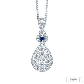 Vera Wang 18ct White Gold 0.37ct Pear Diamond Halo Pendant - Product number 6374824