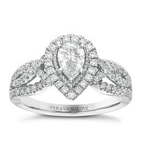Vera Wang 18ct White Gold 0.95ct Diamond Pear Halo Ring - Product number 6374972