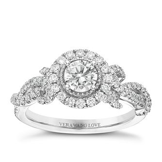Vera Wang 18ct White Gold 0.83ct Diamond Halo Ring - Product number 6375103