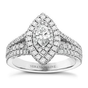 Vera Wang 18ct White Gold 1.18ct Diamond Double Halo Ring - Product number 6375367