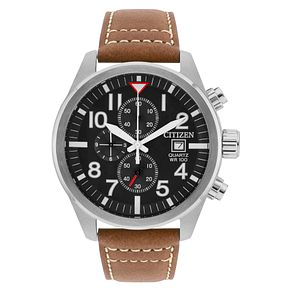 Citizen Men's Black Dial Brown Leather Strap Watch - Product number 6376746