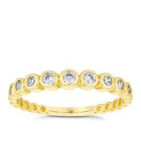 9ct Yellow Gold Round Cubic Zirconia Ring - Product number 6380891