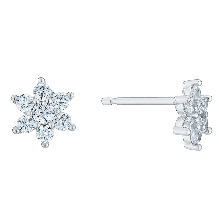 9ct White Gold Floral Cubic Zirconia Stud - Product number 6381561