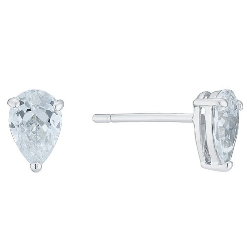 9ct White Gold Cubic Zirconia Teardrop Studs - Product number 6381596