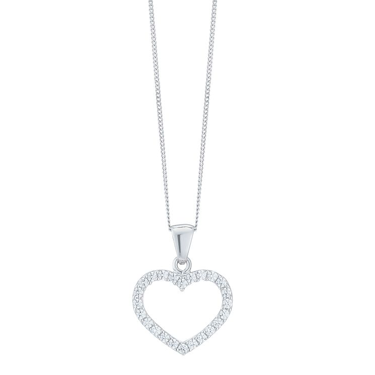 9ct White Gold Cubic Zirconia Open Heart Pendant - Product number 6381642