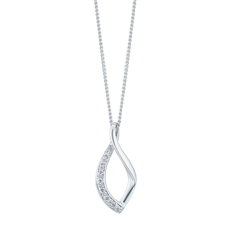 9ct White Gold Cubic Zirconia Twist Pendant - Product number 6381650