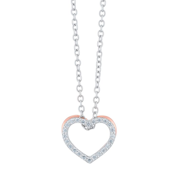 Silver & 9ct Rose Gold Cubic Zirconia Open Heart Pendant - Product number 6381685