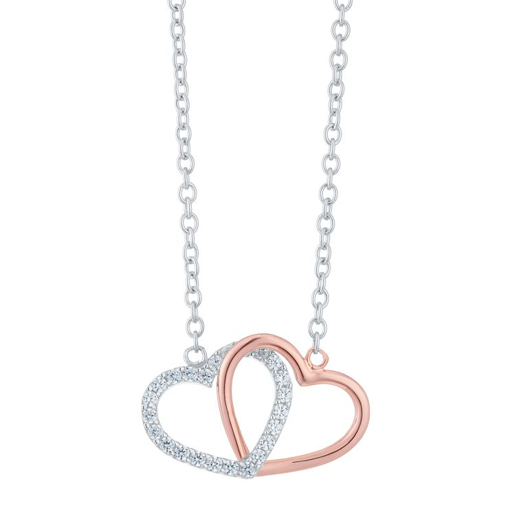 9ct Rose Gold & Silver Cubic Zirconia Linked Heart Necklace - Product number 6381707