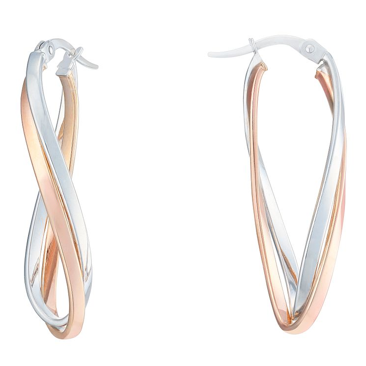 9ct White & Rose Gold Double Twist Oval Creole Earrings - Product number 6382568