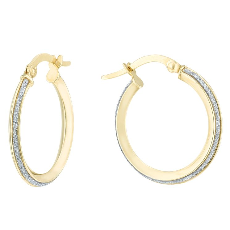 9ct Yellow Gold Sparkle Round Creole Earrings - Product number 6382606