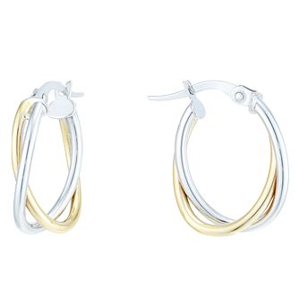 9ct Yellow & White Gold Double Twist Creole Earrings - Product number 6382746