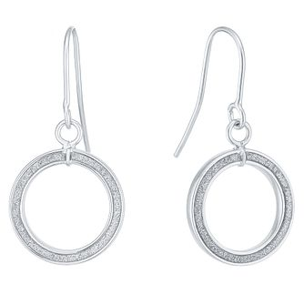 9ct White Gold Sparkle Round Drop Earrings - Product number 6382789