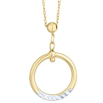 9ct Yellow Gold Open Circle Diamond Cut Pendant - Product number 6382991