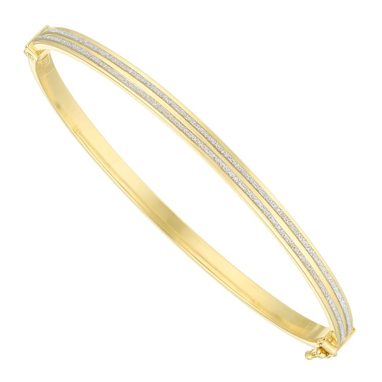 9ct Yellow Gold Sparkle Lined Bangle - Product number 6383165