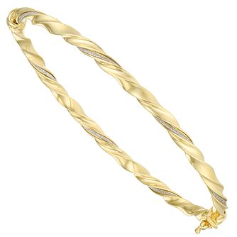 9ct Yellow Gold Sparkle Twist Bangle - Product number 6383238