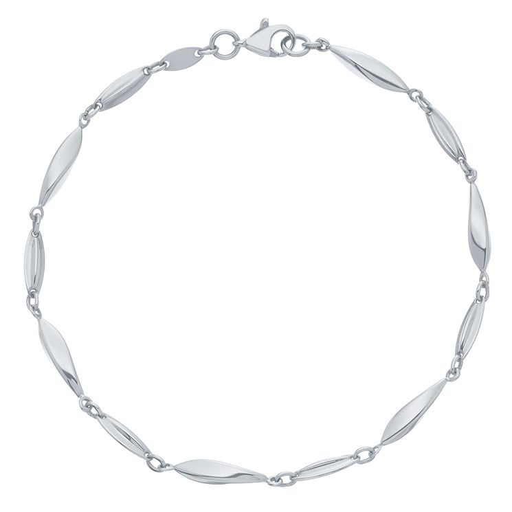 9ct White Gold Long Bead Bracelet - Product number 6383262