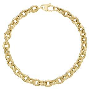 9ct Yellow Gold Mini Textured Curb Bracelet - Product number 6383297