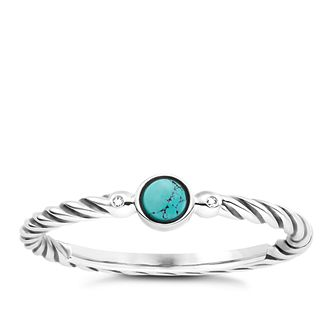 Thomas Sabo Diamond Turquoise Twist Ring Size M - Product number 6391478