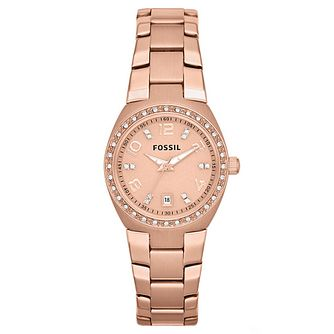 Fossil Ladies' Rose Gold Stainless Steel Bracelet Watch - Product number 6406793