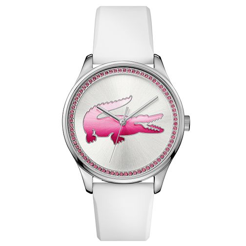 Lacoste Ladies' Pink Crystal White Silicon Strap Watch - Product number 6412041