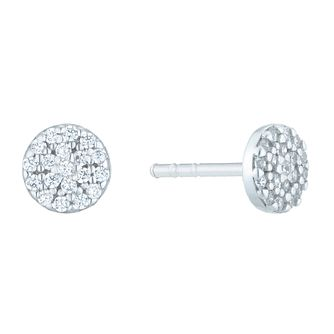 Sterling Silver Cubic Zirconia Circle Stud Earrings - Product number 6412793