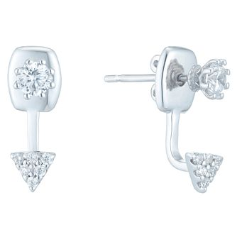 Sterling Silver Cubic Zirconia Ear Jacket Earrings - Product number 6412866