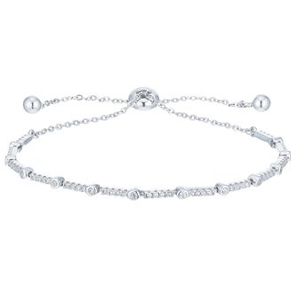 Sterling Silver Cubic Zirconia Adjustable Bolo Bracelet - Product number 6412912
