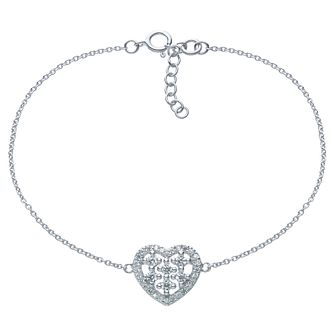 Sterling Silver Cubic Zirconia Heart Chain Bracelet - Product number 6412920