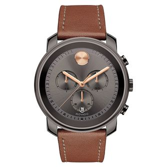 Movado Bold Men's Ion-Plated Grey Brown Strap Watch - Product number 6414117