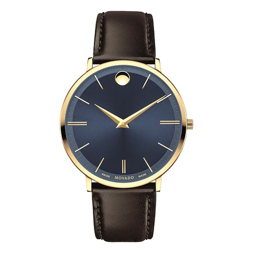 Movado Ultra Slim Men's Yellow Gold-Plated Strap Watch - Product number 6414141
