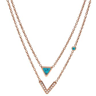 Fossil Rose Gold Tone Triangle Pendant - Product number 6415032
