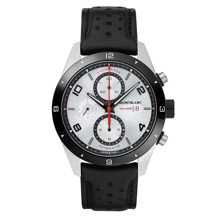 MontBlanc Timewalker Men's Stainless Steel Black Strap Watch - Product number 6415636