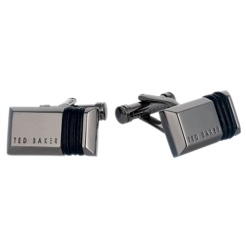 Ted Baker Men's Gunmetal and Leather Rolol Cufflinks - Product number 6416020