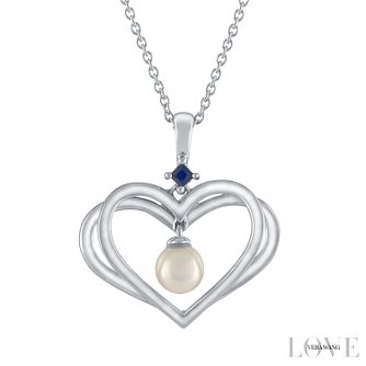 Vera Wang Sterling Silver Pearl & Sapphire Heart Pendant - Product number 6418813