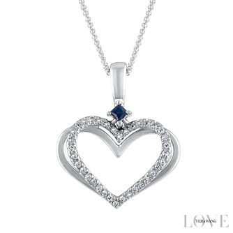 Vera Wang 18ct White Gold Diamond and Sapphire Heart Pendant - Product number 6418856