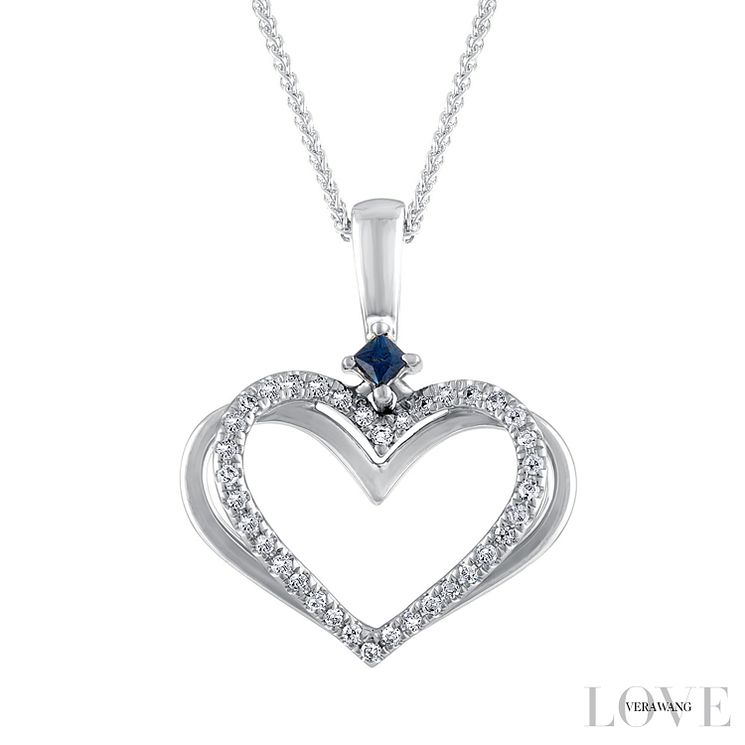Vera wang 18ct white gold diamond and sapphire heart pendant vera wang 18ct white gold diamond and sapphire heart pendant product number 6418856 aloadofball Image collections