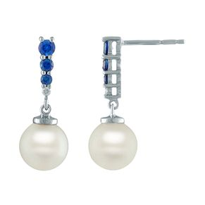 Vera Wang 18ct White Gold Sapphire & Pearl Earrings - Product number 6419178