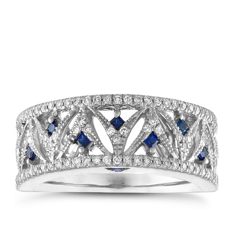 Vera Wang 18ct White Gold 0.30ct Diamond & Sapphire Ring - Product number 6419194