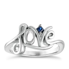 Vera Wang Sterling Silver Sapphire Love Ring - Product number 6419372