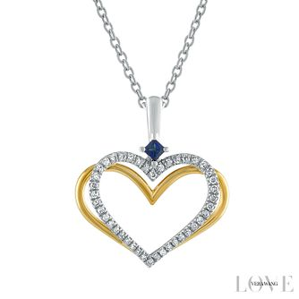 Vera Wang Silver & 18ct Gold Diamond Sapphire Heart Pendant - Product number 6419534