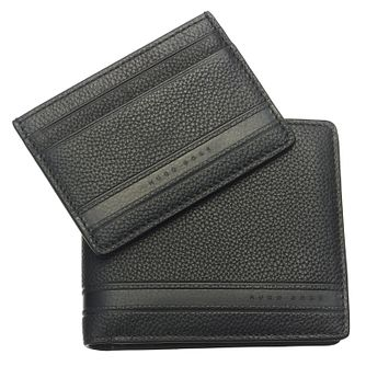 Hugo Boss Men's Black Leather Wallet & Card Holder Gift Set - Product number 6420370