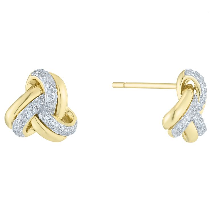 9ct Yellow Gold 0.20ct Diamond Knot Earrings - Product number 6420486