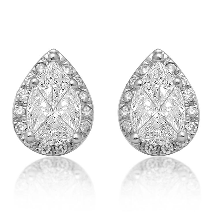 18ct White Gold 0.66ct Pear Stud Earrings - Product number 6420540
